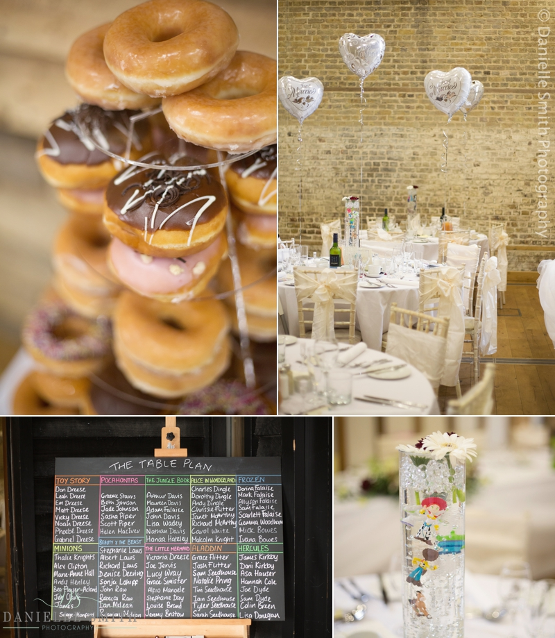 donuts and wedding details - barn wedding in purfleet