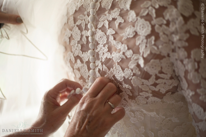 floral lace detail on back of wedding dress