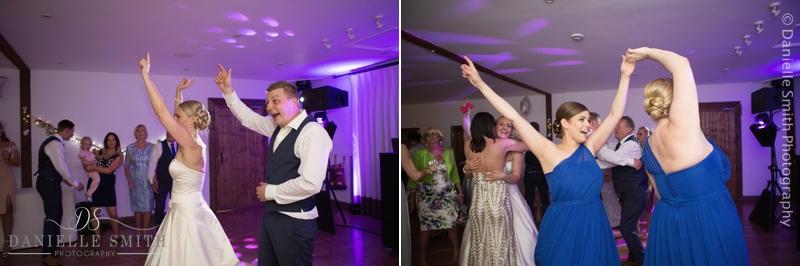 wedding guests dancing at maidens barn