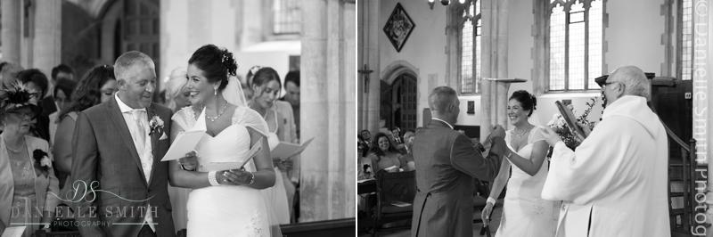 bride and groom getting married - houchins wedding