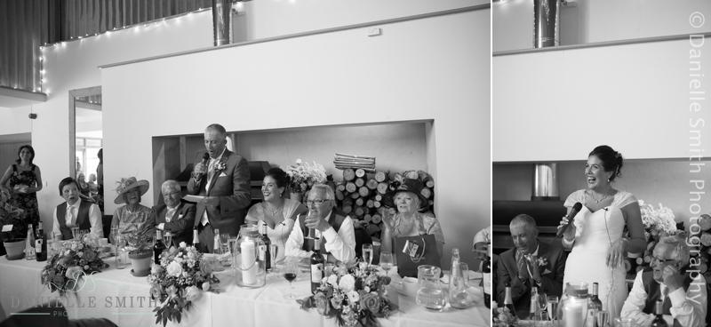 groom and bride doing speech at wedding