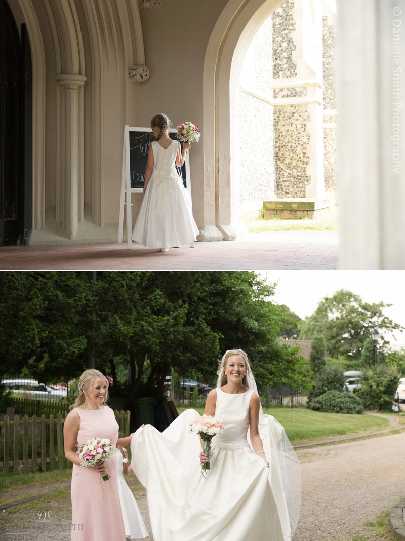 bride arriving at church in havering-atte-bower