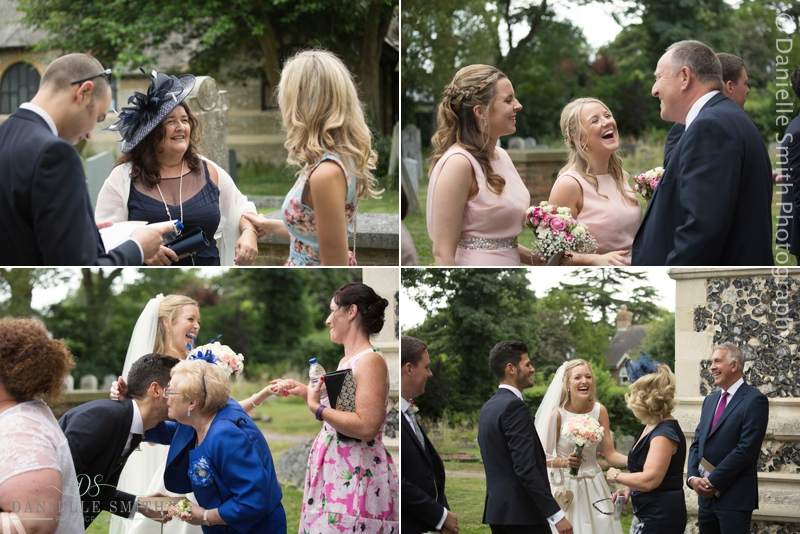 wedding guests greeting bride and groom