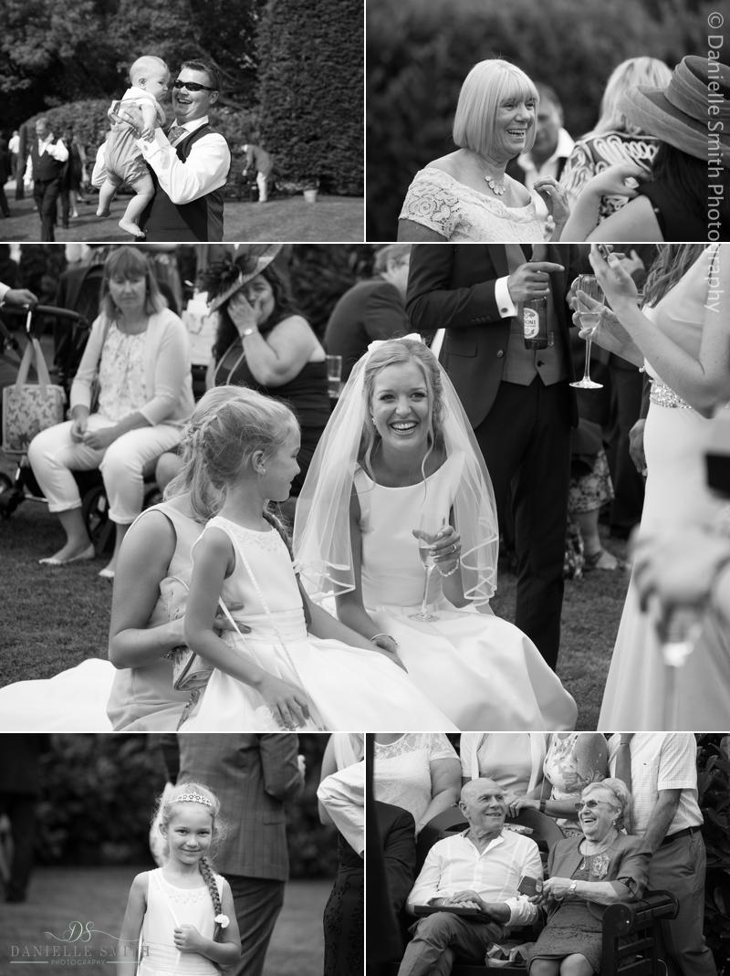 wedding guests enjoying garden wedding - old brook barn wedding