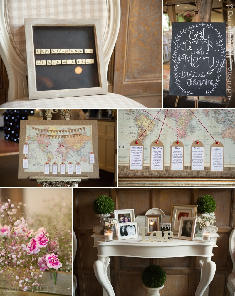 map table plan and pink flowers