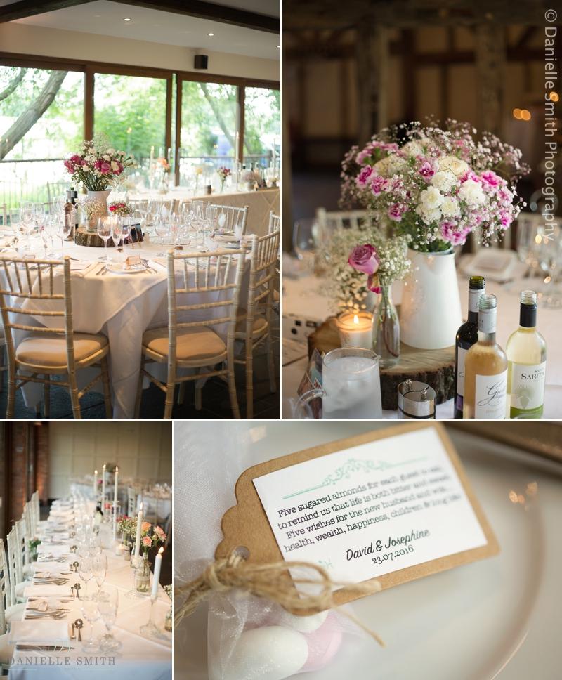 table decor at old brook barn wedding