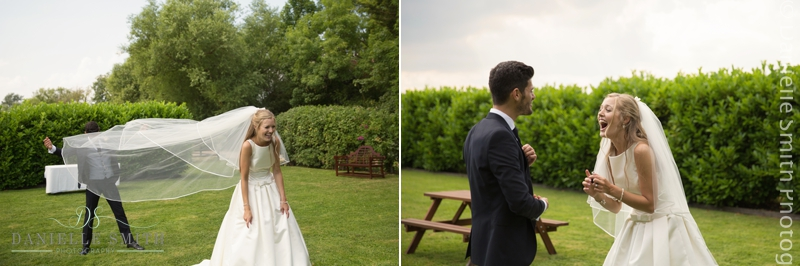 bride and groom being silly at old brook barn wedding