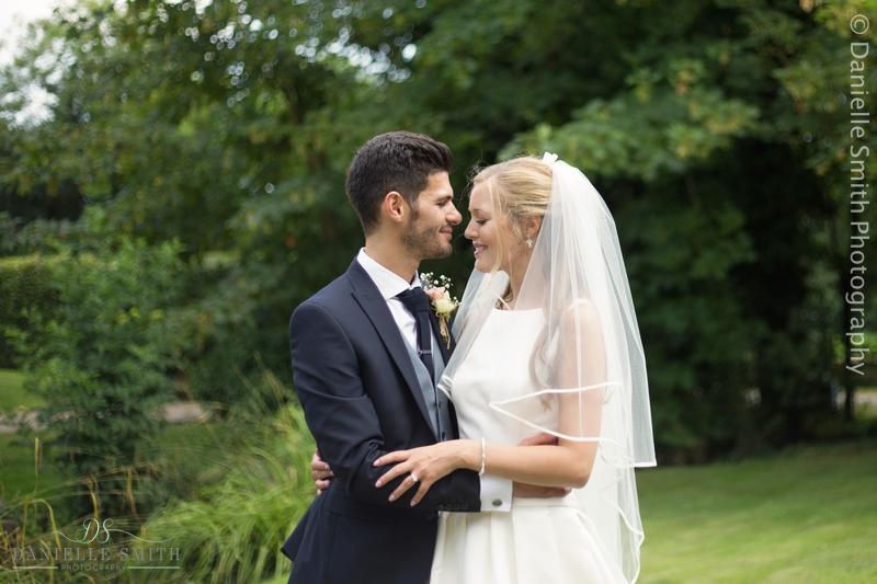 bride and groom intimate photo - old brook barn wedding