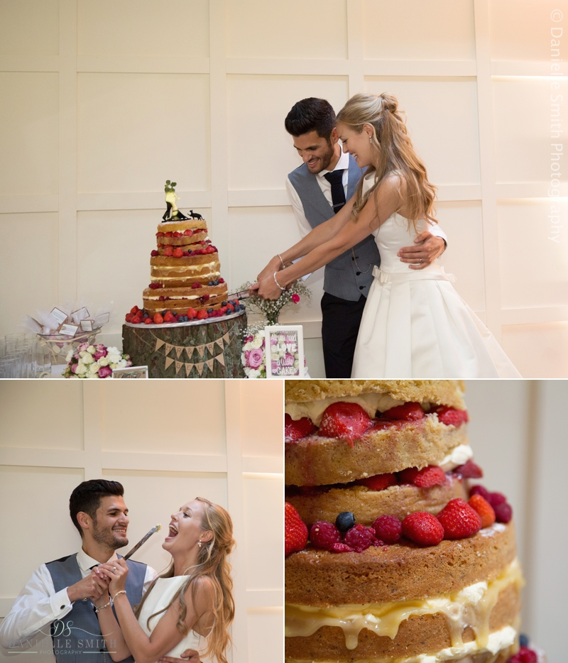 bride and groom cutting naked cake