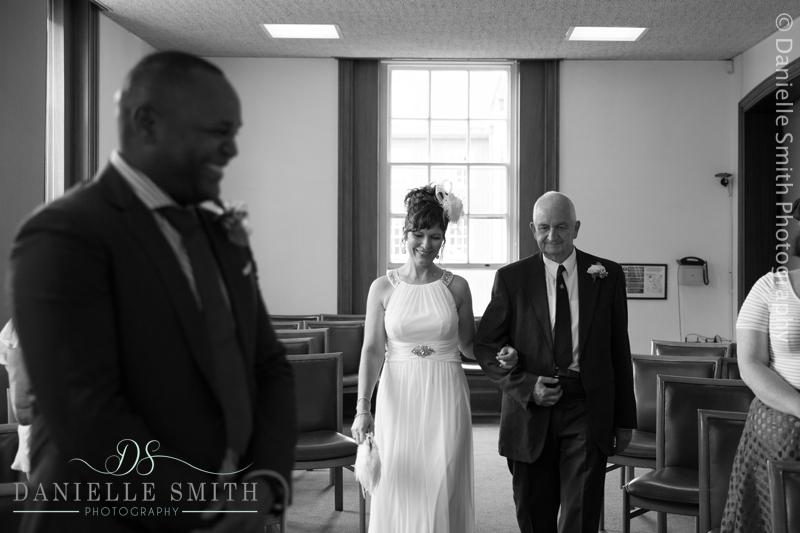 bride walking down aisle - intimate wedding brentwood