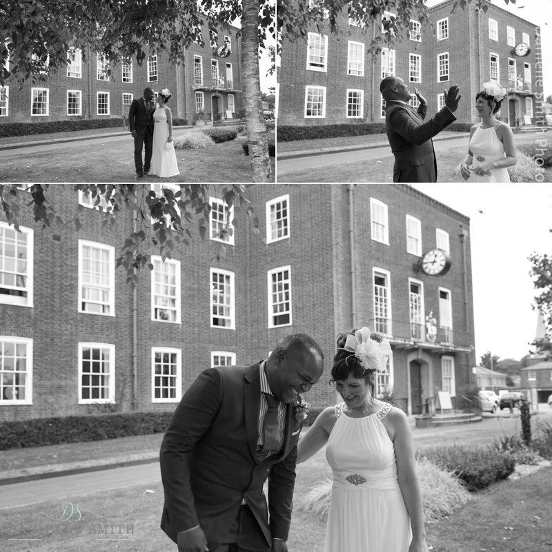 bride and groom having fun - intimate wedding brentwood