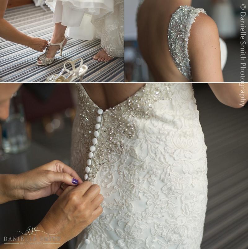bridal details - shoes and dress