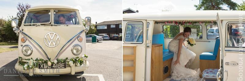 vw camper van arrives at church with bride