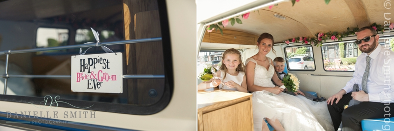 bride and groom and kids in vw camper