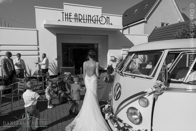 bride and vw camper van - arlington ballrooms wedding