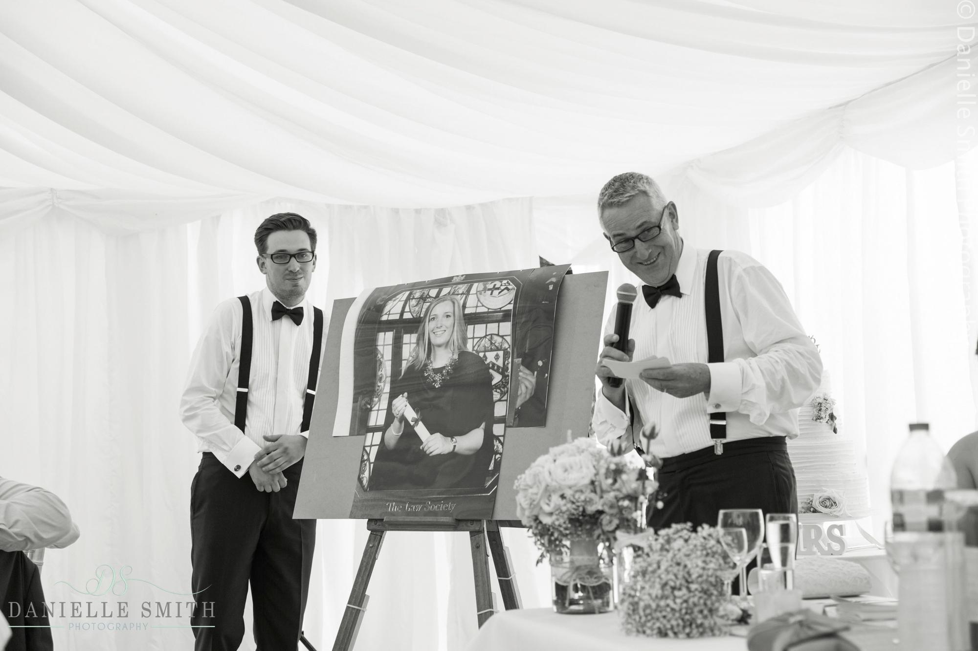 father of bride giving speech - summer garden wedding