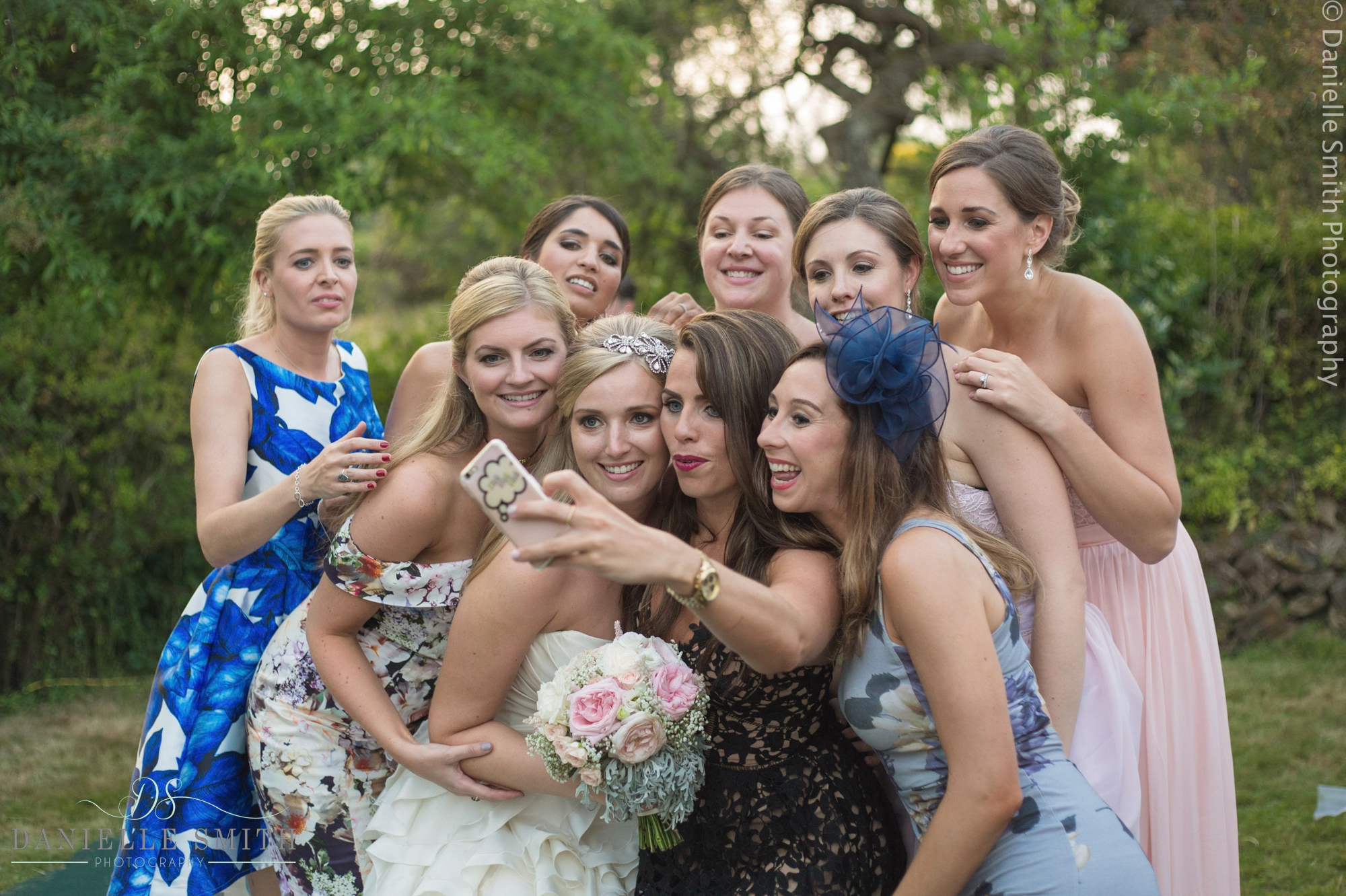 bride and her girls having selfie