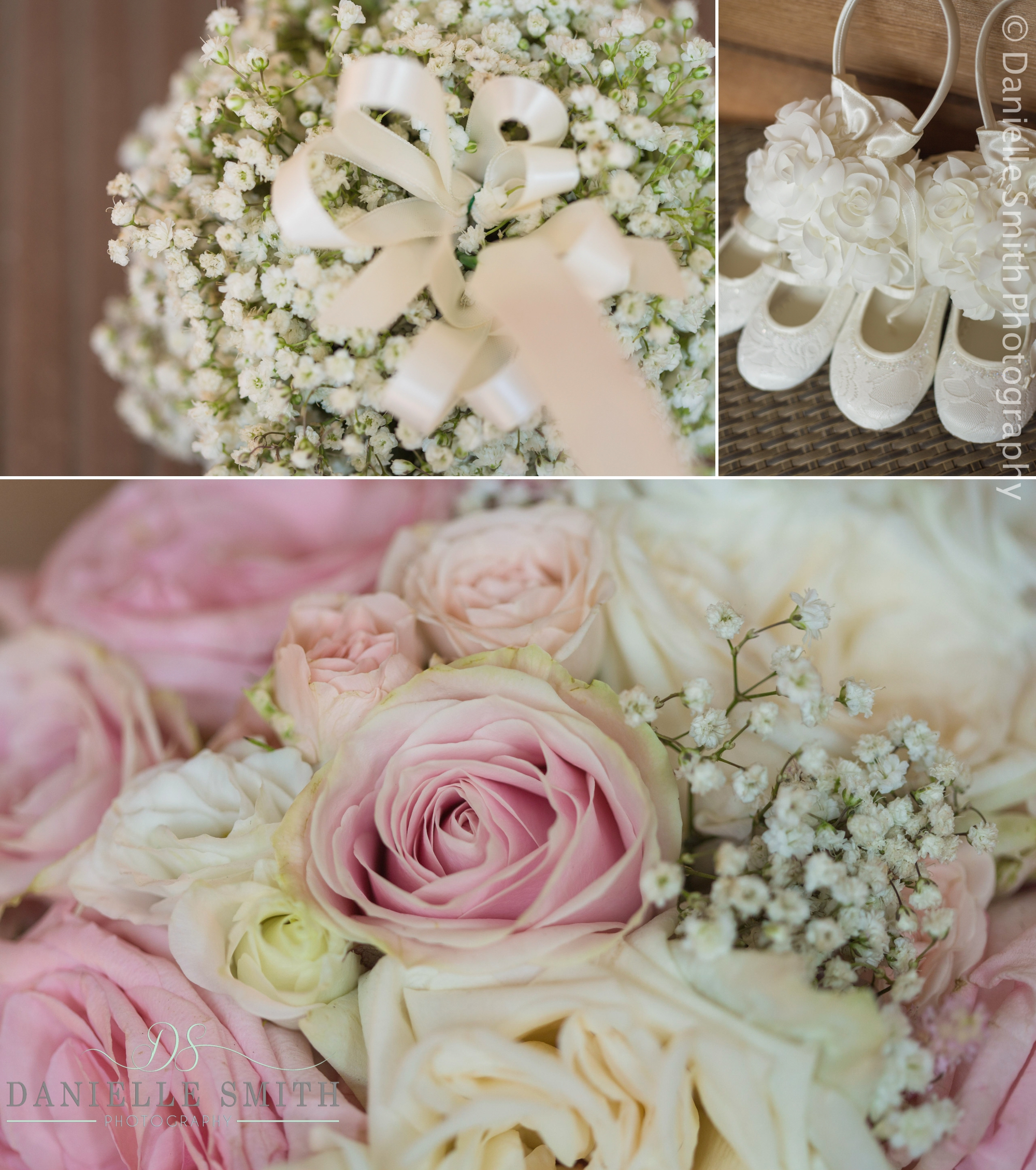 pink and ivory bouquet and flower girl shoes and flowers
