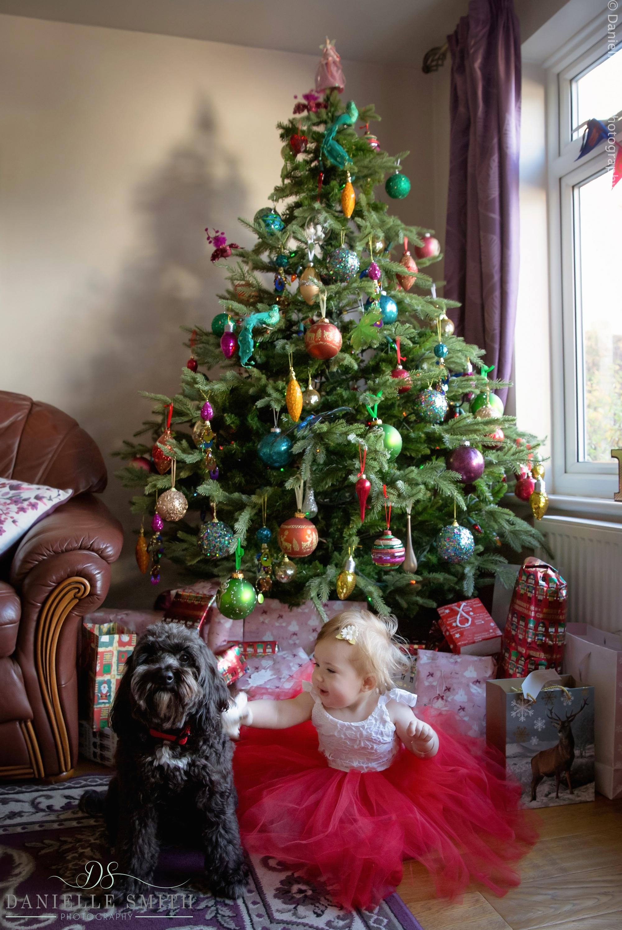 baby girl and her dog with christmas tree