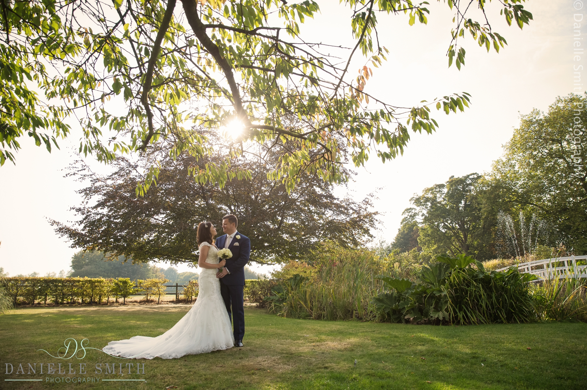 bride and groom under tree with sun coming through