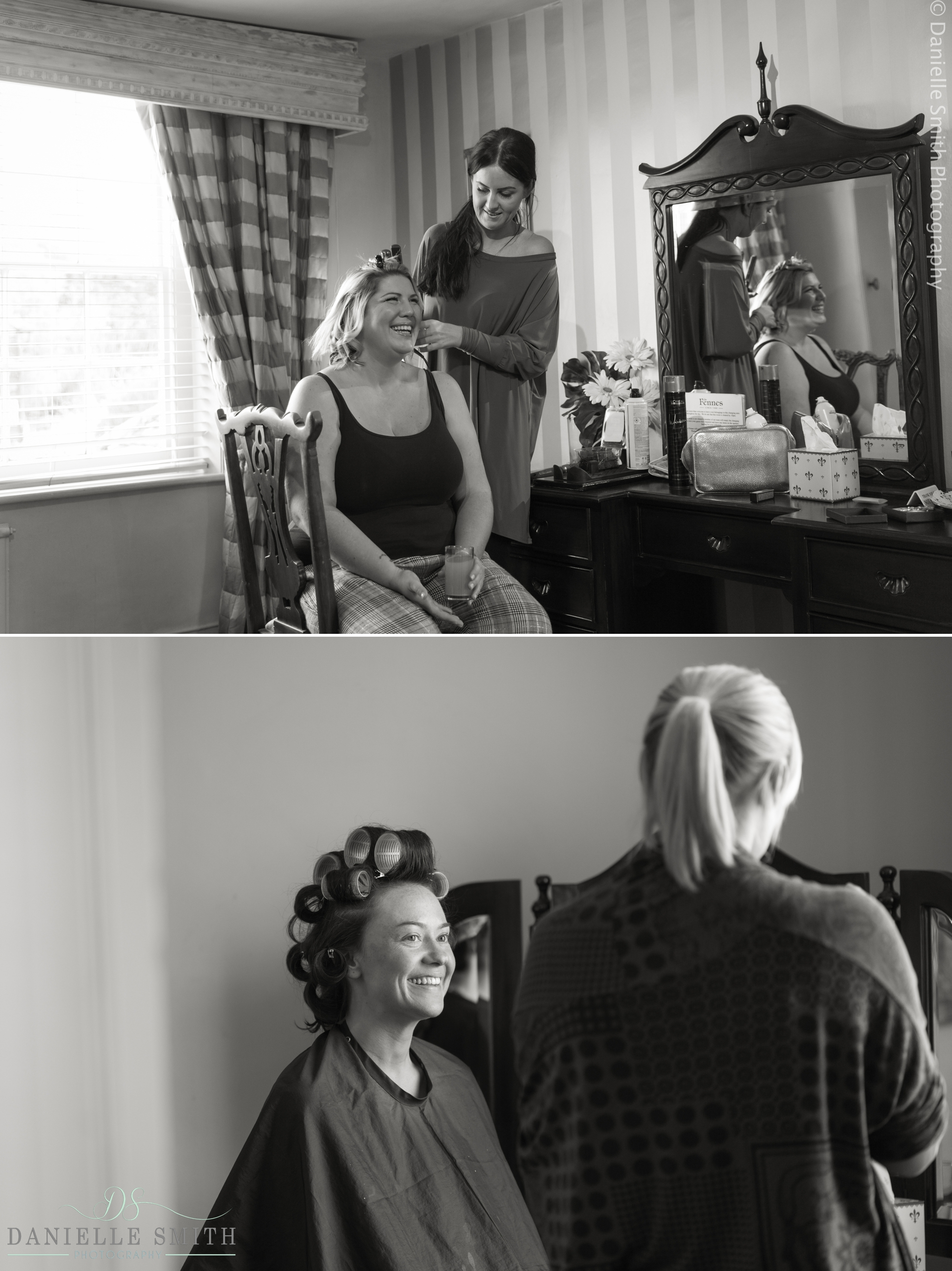 bride and bridesmaids getting ready at Fennes Wedding