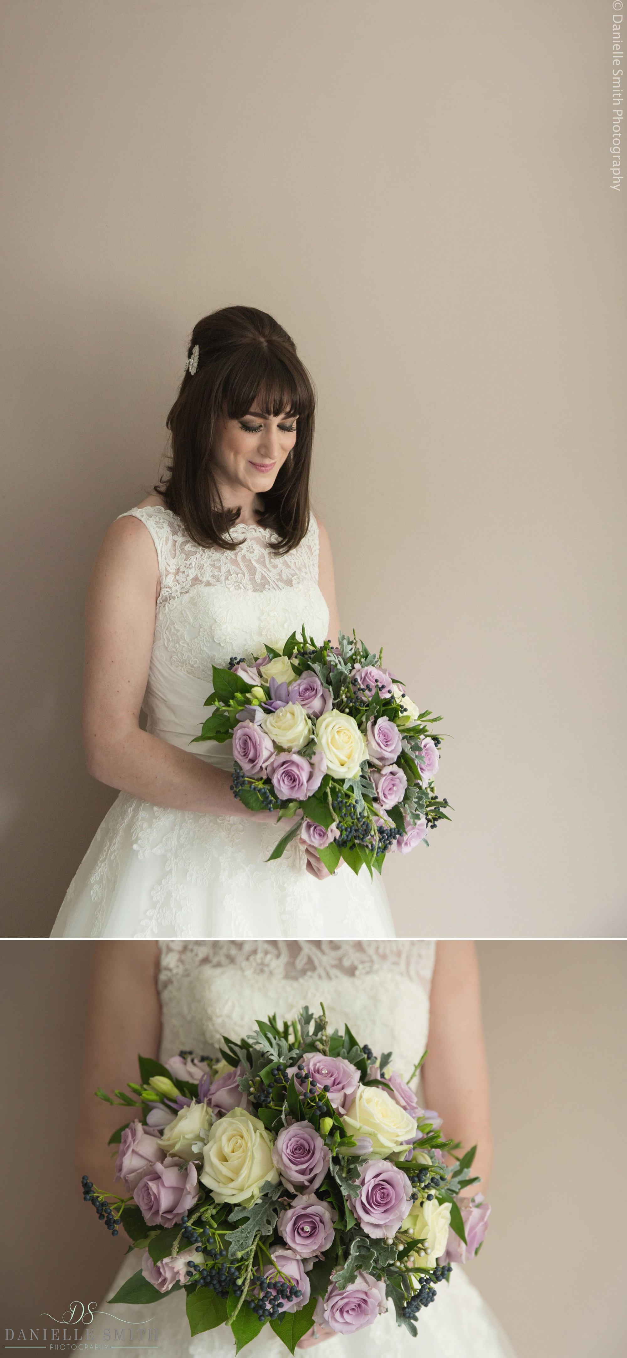 bride with ivory and violet rose bouquet - 1920s style wedding