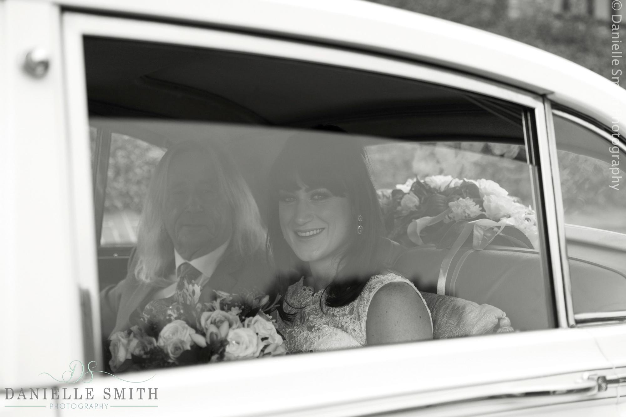 bride and dad in vintage car - 1920s style wedding