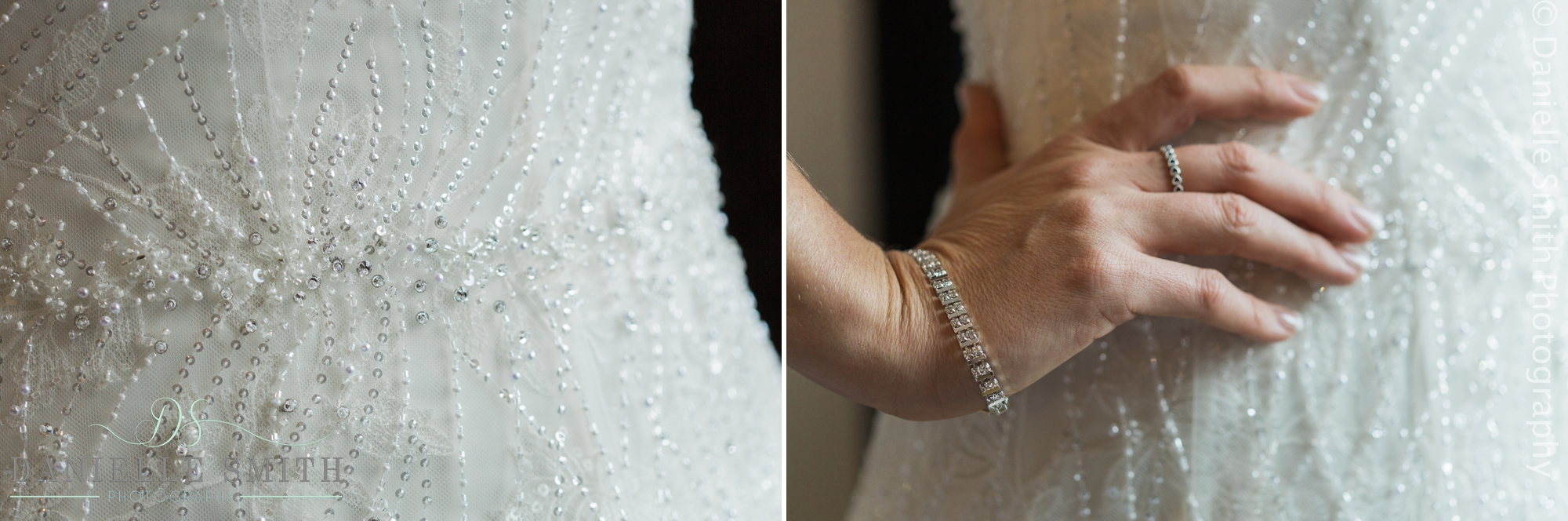 embellished wedding dress detailing