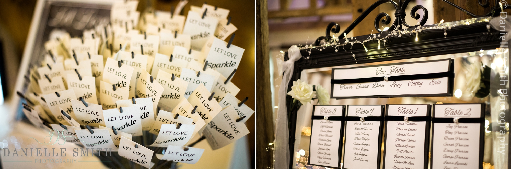 wedding sparklers and table plan