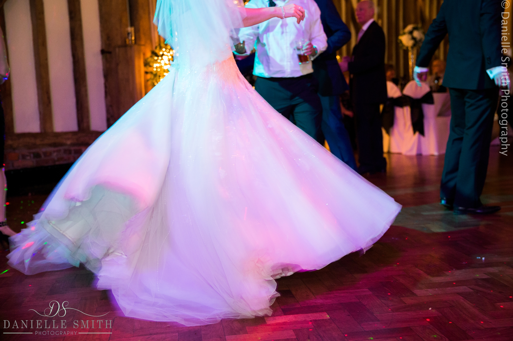 wedding dress spinning on dance floor