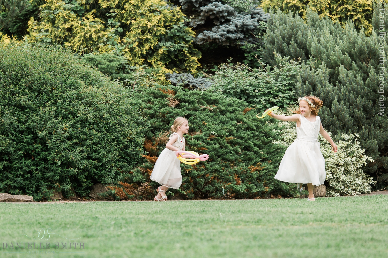 kids playing outside at wedding