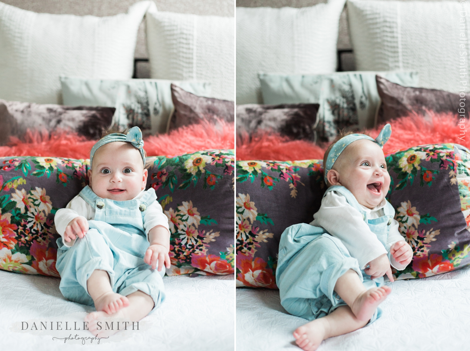 photos of baby girl on bed - natural family photos