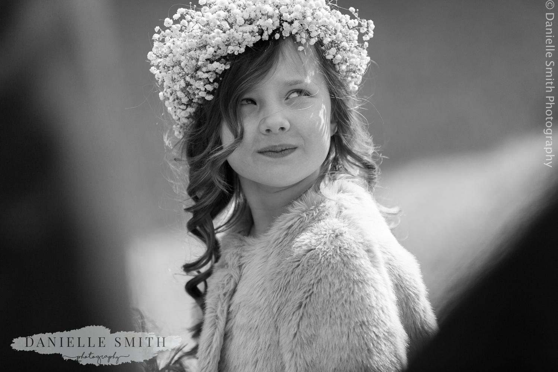flower girl with gypsophila crown