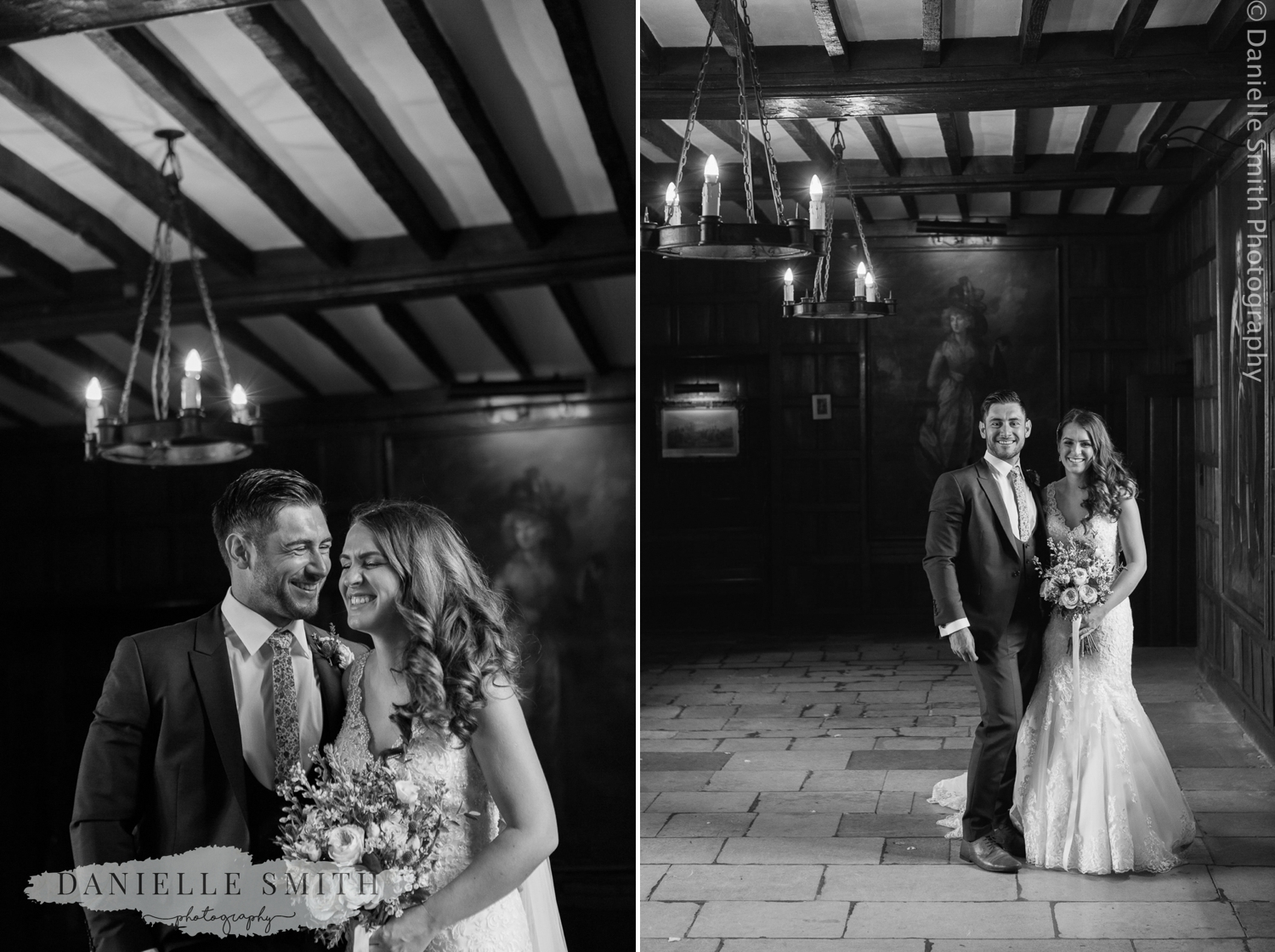 bride and groom portrait of them laughing at ingatestone hall
