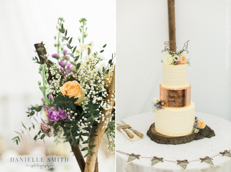 pastel flowers and rose gold wedding cake