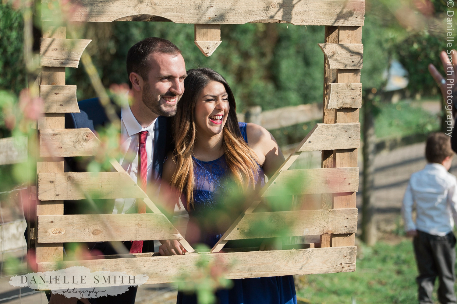 couple having photo in heart crate
