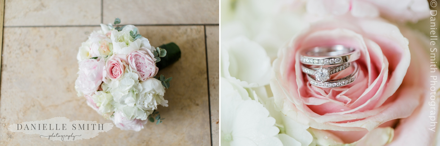 baby pink summer wedding bouquet and rings