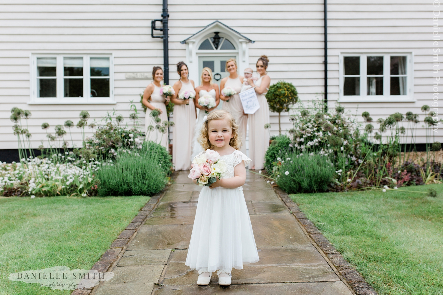 bridesmaids and flower girl at blake hall