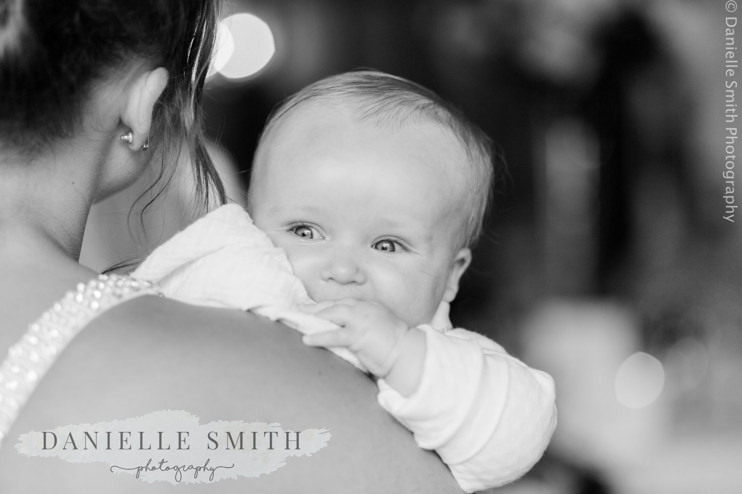 baby girl at wedding - blake hall