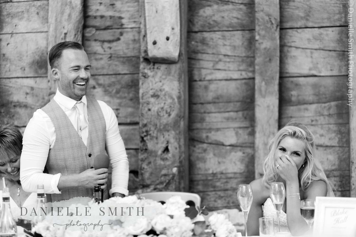bride shocked and groom laughing