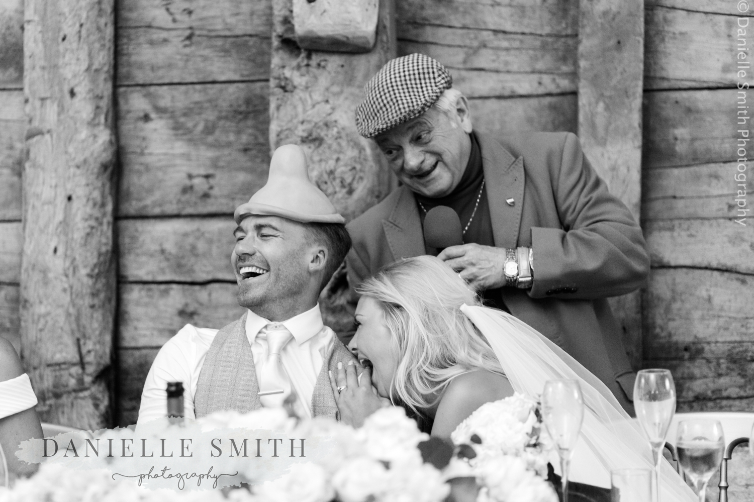 del boy impersonator with bride and groom
