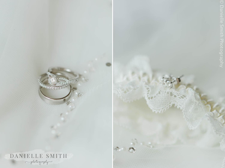 wedding rings and garter