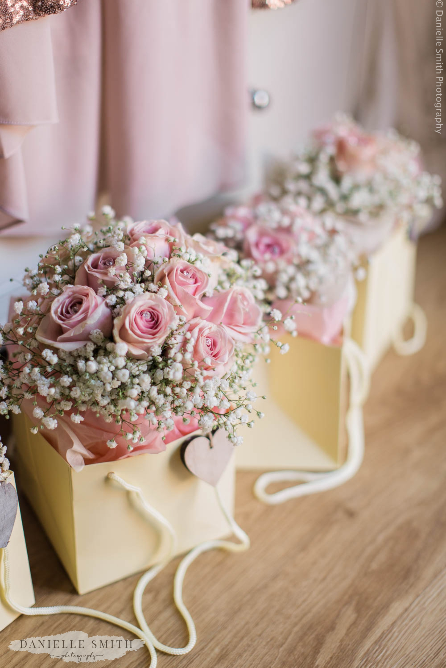 rink roses and gypsophila wedding bouquets