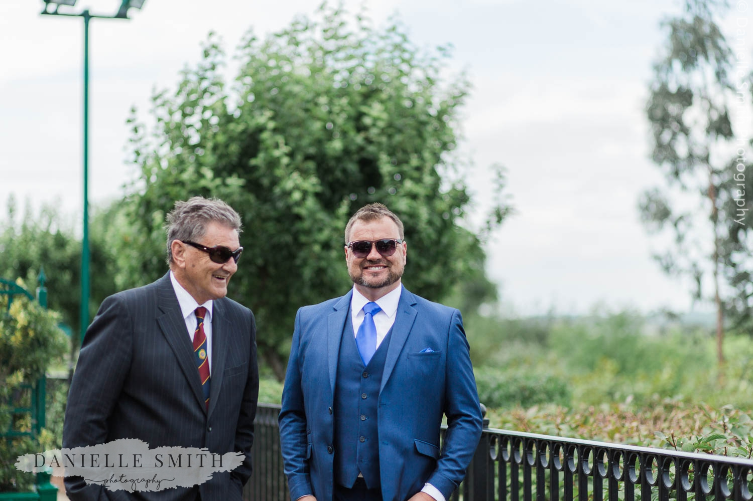 wedding guests laughing at outdoor wedding in billericay