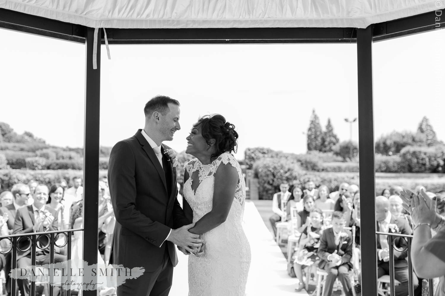 bride and groom at outdoor ceremony in billericay