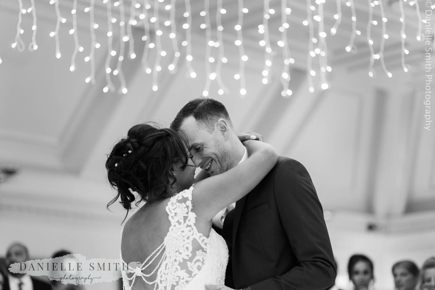 bride and groom first dance at stock brook manor
