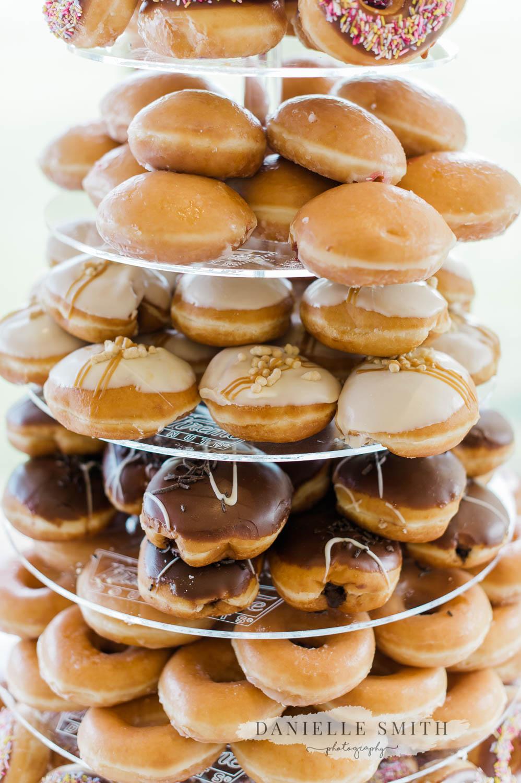 krispy kreme tower donuts - laid back wedding