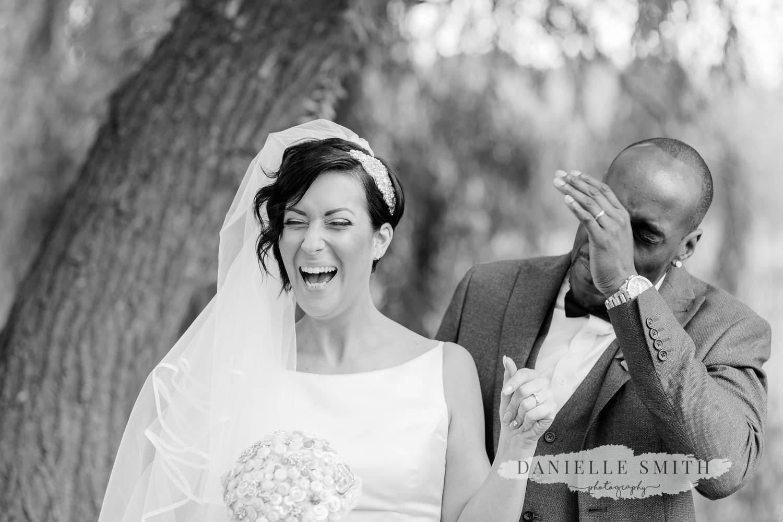 bride laughing - laid back wedding