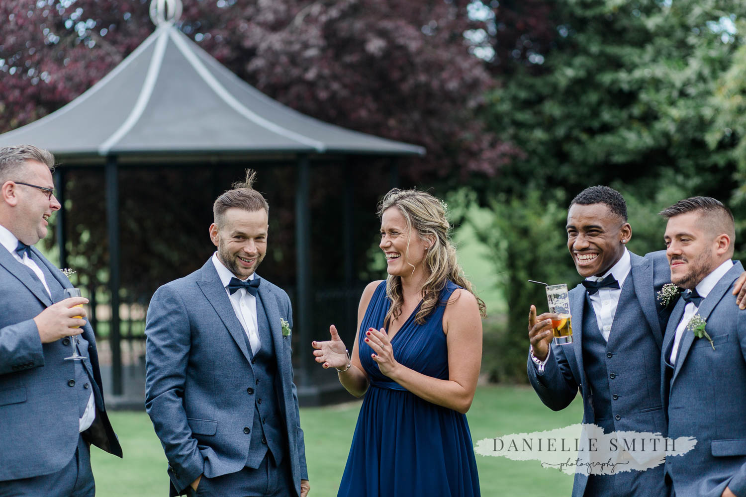 wedding guests laughing and having fun