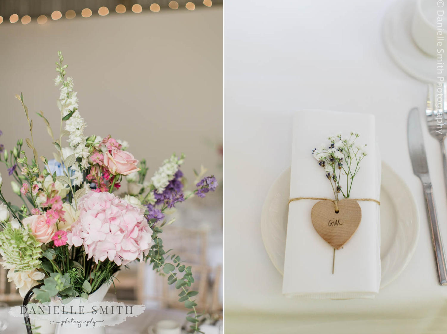 pastel flowers and table decor